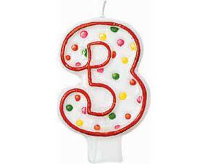 Red Outline Polka Dot Number 3 Candle