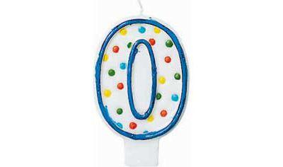 Blue Outline Polka Dot Number 0 Candle