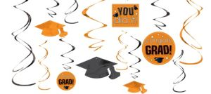 Orange Graduation Swirl Decorations 12ct