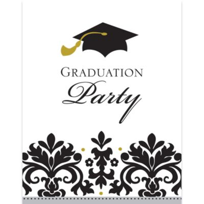 Black & White Graduation Invitations 50ct