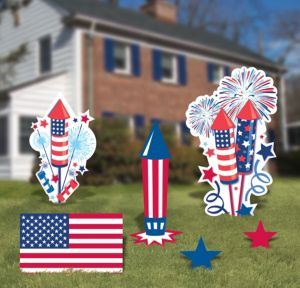 Patriotic American Flag Yard Signs 6ct