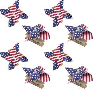 Patriotic American Flag Pinwheel Clips 8ct