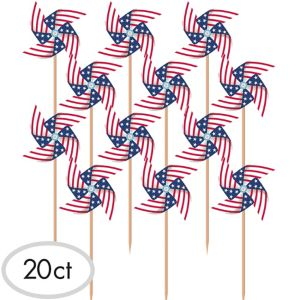 Flag Pinwheel Picks 20ct