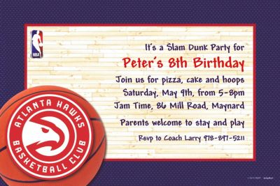 Custom Atlanta Hawks Invitations
