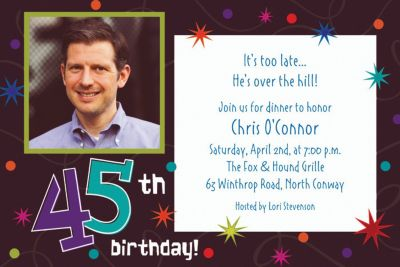 Custom The Party Continues 45th Photo Invitations