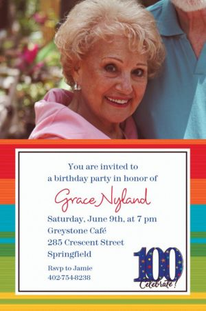 Custom A Year to Celebrate 100th Birthday Photo Invitations