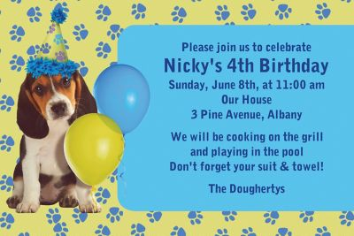 Custom Party Pups Invitations
