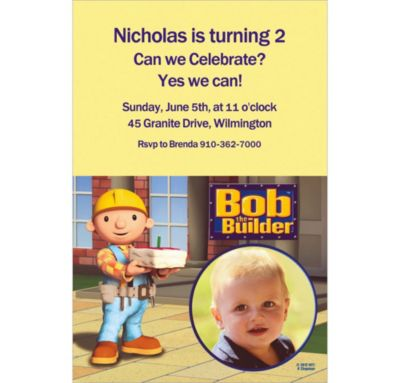 Bob the Builder Custom Photo Invitation