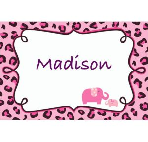 Custom Pink Safari Baby Shower Thank You Notes