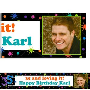 Custom The Party Continues 35th Birthday Photo Banner 6ft