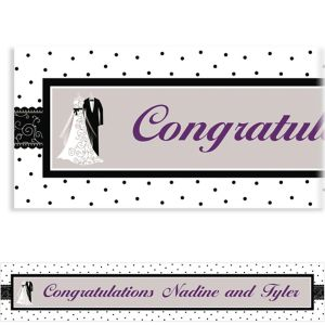 Custom Black & White Wedding Banner 6ft