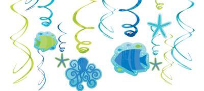 Cool Sea Swirl Decorations 12ct
