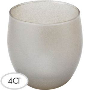 Silver Glass Votive 4ct