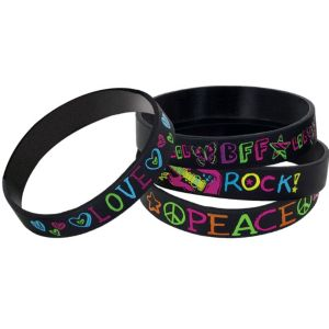 Neon Doodle Wristbands 4ct