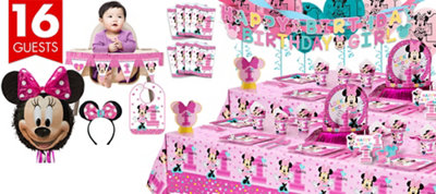 1st Birthday Minnie Mouse Ultimate Party Kit for 16 Guests