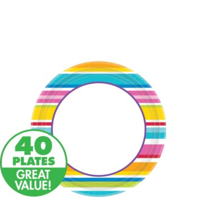 Striped Border Dessert Plates 40ct