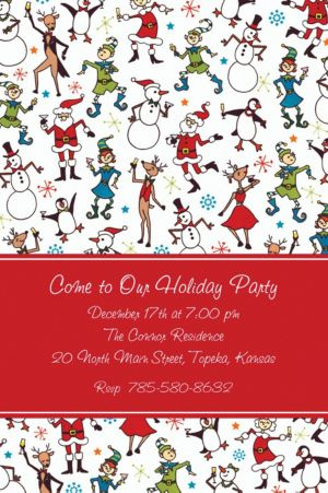 Custom Christmas Character Cocktails Invitations