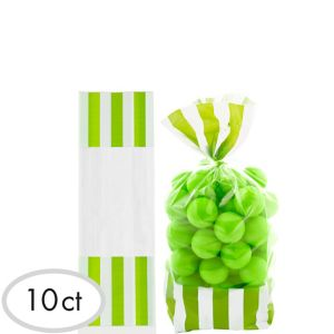 Kiwi Green Striped Treat Bags 10ct