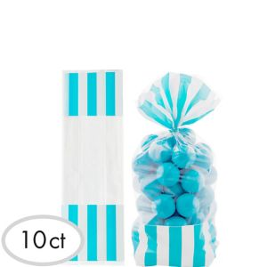 Caribbean Blue Striped Treat Bags 10ct