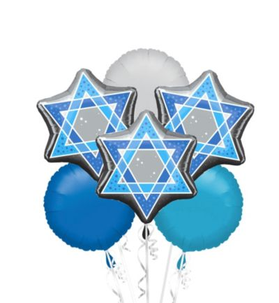 Star of David Balloon Bouquet 6pc
