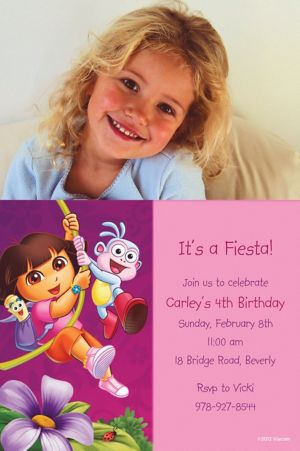 Custom Dora Flower Fun Photo Invitations