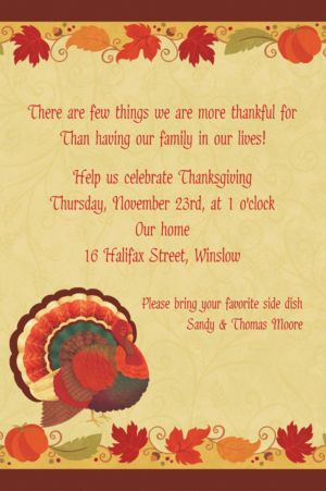 Custom Thanksgiving Holiday Invitations