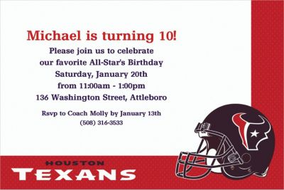 Custom Houston Texans Invitations