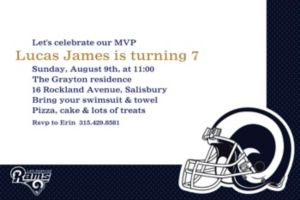 Custom Los Angeles Rams Invitations