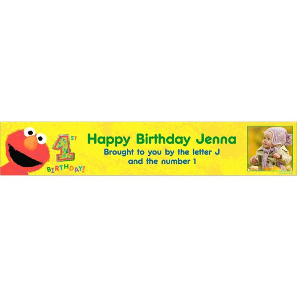 1st Birthday Banner With Photo Elmo 1st Birthday Custom Photo