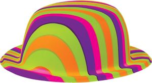 Multicolor Striped 60s Bowler Hat