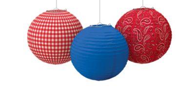 Bandana Western Paper Lanterns 3ct
