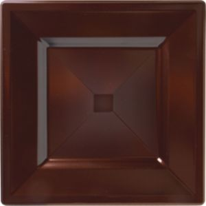 Chocolate Brown Premium Plastic Square Dinner Plates 10ct