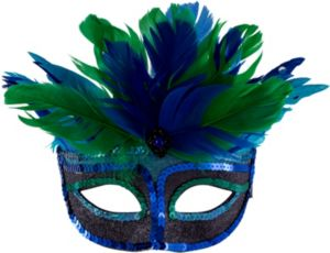 Blue Mystique Feather Masquerade Mask