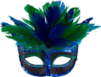 Blue Mystique Feather Mask
