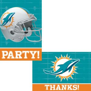 Miami Dolphins Invitations & Thank You Notes For 8