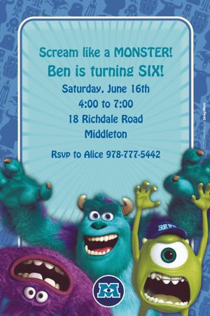 Custom Monsters University Invitations