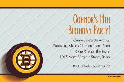 Custom Boston Bruins Invitations