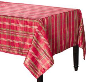 Metallic Holiday Plaid Fabric Tablecloth