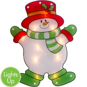 Light-Up Snowman Window Decoration