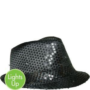 Light-Up Sequin Black Fedora