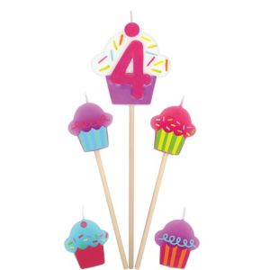 Number 4 & Cupcake Candle Picks 5ct