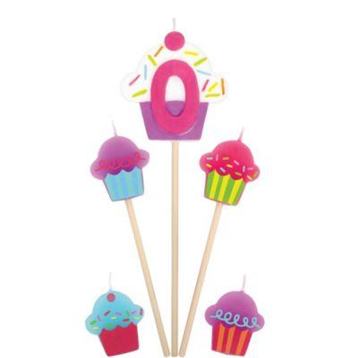 Number 0 & Cupcake Candle Picks 5ct