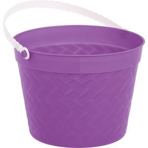 Purple Plastic Woven Easter Bucket