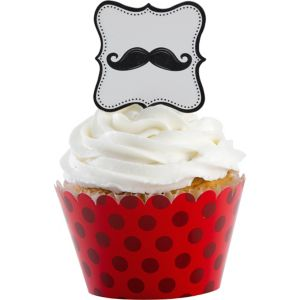Moustache Cupcake Wrappers and Picks for 12