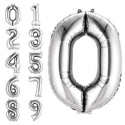 Number 0 Balloon - Silver