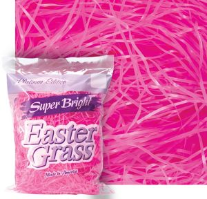 Bright Pink Plastic Easter Grass
