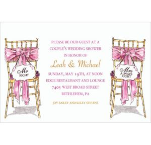 Custom Mr. And Mrs. Right Bridal Shower Invitations