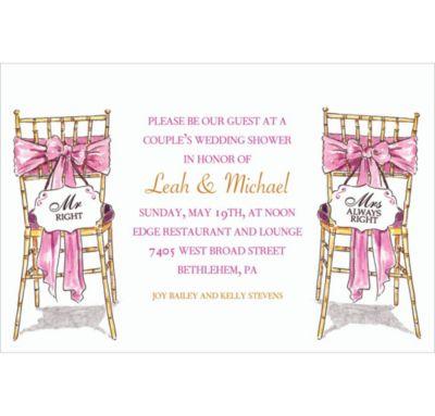 Custom Mr. And Mrs. Right Bridal Shower Invitations