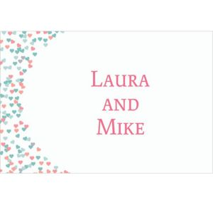 Custom Bunches of Hearts Pink Wedding Thank You Notes