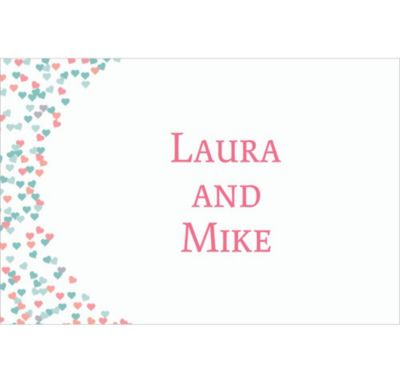 Bunches of Hearts Pink Custom Wedding Thank You Note